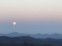 Super Moon over the mountains Near Asheville NC off the Blue Ride Pkwy