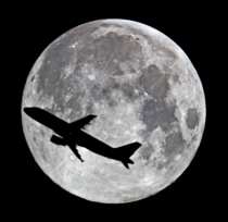 Super Moon with Plane