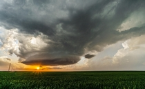 Supercell over the Southern Kansas landscape Taken  near Protection KS