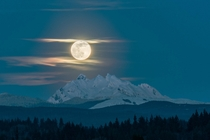 Supermoon Over the Three Fingers Washington State