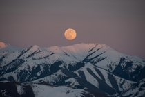 Supermoon rising over Ketchum Idaho