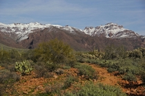 Superstition Mountains Covered in Snow Apache Junction AZ USA  OC
