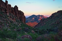 Superstition Wilderness at Dusk in Arizona USA
