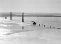 Support structure of the Mackinac Bridge MI during construction