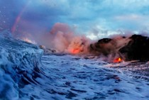 Surf Lava and a Rainbow - Hawaii Volcanoes National Park