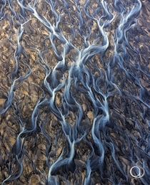 Surreal aerial view of an Icelandic River Delta by Antony Spencer