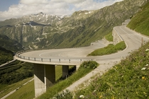 Suspended Hairpin on Furka Pass Switzerland