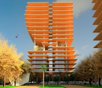 Sustainable Towers in Ft Lauderdale FL Shaded glass and open air balconies Student Project