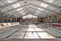 Swimming pool at an abandoned Naval base