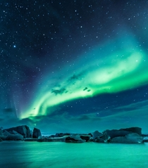 Swirling Aurora over an ice lagoon Jkulsrln Iceland