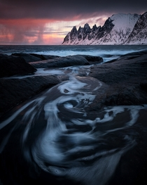 Swirling tides Tungeneset Senja Norway
