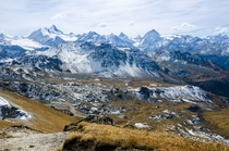 Switzerland has  different peaks called Rothorn red peak the summit of this one gives a view of the Weisshorn Matterhorn and Dent Blanche from m above the valley Agarn VS