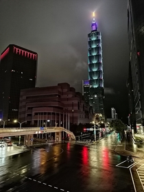 Taipei  lit up in purple and gold for Kobe Bryant