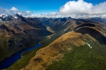 Taken from a Helicopter Over Lake McKeller and the Greenstone River Fiordland National Park NZ