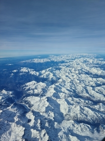Taken from my flight going over the Pyrenees Mountains