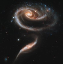 Taken in celebration of HSTs st anniversary these two galaxies appear to have formed a space Rose