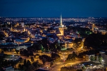 Tallinn old town Estonia at night Shot from a balloon