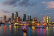 Tampa Super Bowl Skyline and the Lost Pearl Pirate Ship