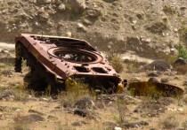 Tank left behind in a former battlefield of the Tajik Civil War