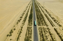 Tarim Desert Highway in Western China