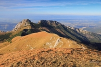 Tatra National Park in Poland Giewont mountain seen from Czerwone Wierchy Red Mountains