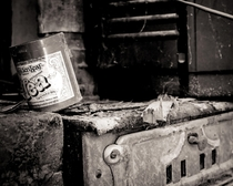 Tea can on a wood stove abandoned farmhouse Australia