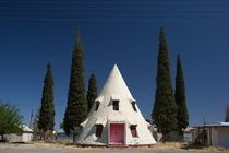 Teepee Home abandoned roadside attraction in the ghost town of Bowie Arizona