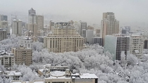 Tehran Iran covered in Snow