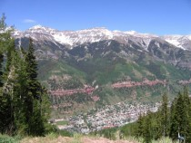Telluride Colorado Looking down from mountains