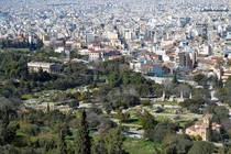 Temple of Hephaestus ancient Agora and the city of Athens OC