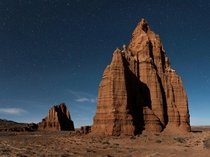 Temple of the moon lit by moonlight Capitol Reef National Park UT