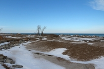 temporarily abandoned Frozen beachfront at Illinois Beach State Park