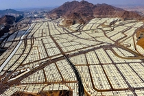 Temporary tent city for over  million Muslim pilgrims near Mecca during a hadj