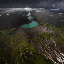 Tentacles of Iceland shot from a plane x