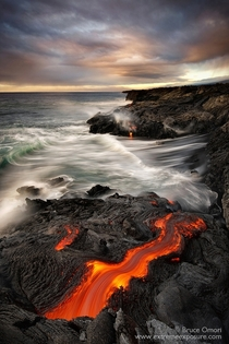 Terra Not so firma Lava flowing into the sea at Kilauea Hawaii  Photo by Bruce Omori xpost from runitedstatesofamerica