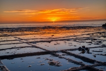 Tessellated Pavement Tasmania  Sunrise at Tessellated Pavement an all natural rock formation at Eaglehawk Neck Tasmania