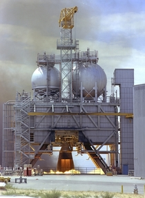 Test fire of Rocketdyne F- Engine the most powerful engine built to date Vandenberg AFB