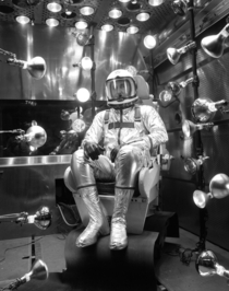Test pilot Scott Crossfield during a study of the XMC- pressure suit