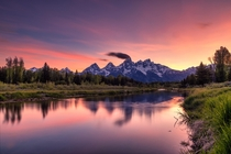 Teton Range Wyoming Lets make it Earth week The beautiful color palette of sunset Long exposure sunset