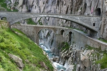 Teufelsbrcke Devils Bridge at the Gotthard Pass the currently used bridge from  over the first drivable bridge from