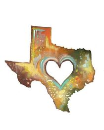 Texas with a heartTexas vertical print
