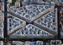 th century apartment blocks in Paris from above