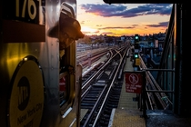 th Street Roosevelt Avenue station on the  line Queens NYC