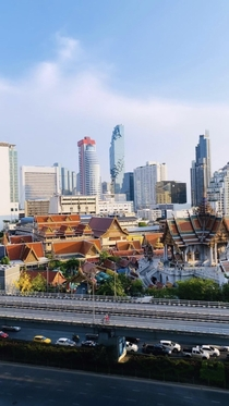 Thailands view The mixture of levels between temples and tall buildings are just