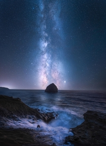 Thalassic Dream A  shot panoramic photo of Cape Kiwanda OR  Bluehour foreground blend with a three shot pano for the stars tracked at  seconds each