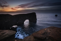 That first light at the Dyrhlaey arch in Iceland