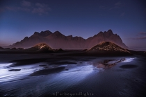 That last light from the sunset left a streak of silver - Vestrahorn Iceland  farbeyondlights