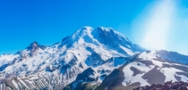 Thats a lot of snow in July Mt Rainier panorama in summer after a strong winter