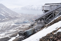 The abandoned and well preserved Santa mine on a mountain in Svalbard