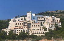 The abandoned Hotel Belvedere from the sea in Dubrovnik
